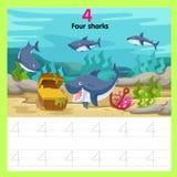 Illustrator of worksheet four sharks vector illustration