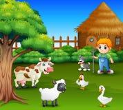 A farmer at his farm with a bunch of farm animals. Illustration of A farmer at his farm with a bunch of farm animals vector illustration