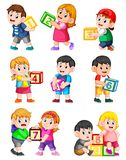 Let`s count to ten with kids holding box. Illustration of Let`s count to ten with kids holding box royalty free illustration