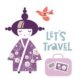 Illustration of a Japanese Girl in the form of a National Kokeshi doll in a kimono royalty free illustration