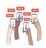 Sale promotion on mobile phone. stock illustration