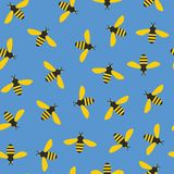 Seamless pattern with bees stock illustration