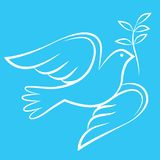 Dove of Peace with olive branch royalty free illustration