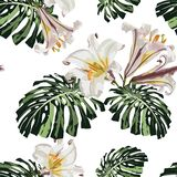 Seamless pattern with tropical monstera leaves and white lilies flowers. Dark and bright green palm leaves on the white background. Tropical illustration vector illustration