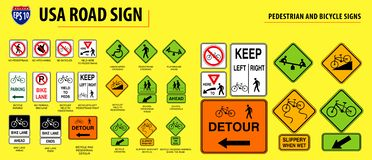 Set of USA road sign. PEDESTRIAN AND BICYCLE SIGNS. easy to modify stock illustration