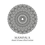 Mandala hand drawn vector illustration. Black and white anti stress decorative ethnic ornament royalty free stock photos