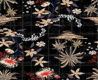 Tropical palm with beatiful flowers pattern design background black. Tropical flowers palm with beatiful flowers pattern design background black grunge design vector illustration
