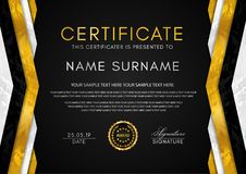 Certificate template with geometry frame and gold badge. Luxury back background design for Diploma stock illustration