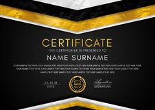 Certificate template with geometry frame and gold badge. Black background design for Diploma stock illustration