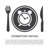 Intermittent Fasting. Vector illustration of a plate with a fork and a knife, a clock and place for your text . Modern flat card, poster, banner, leaflet stock illustration