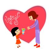 Little girl is giving flowers to her mother or teacher. stock images