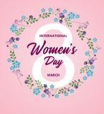 8 march international women`s day with floral wreath royalty free illustration