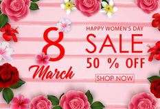 8 March Happy Women`s Day sale banner with paper flowers vector illustration