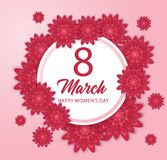 8 March International Women`s Day with red paper cut flower and circle frame vector illustration