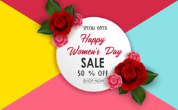 8 March Happy Women`s Day sale banner with flowers vector illustration