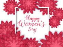 8 March International Women`s Day with red paper cut flower and square frame vector illustration