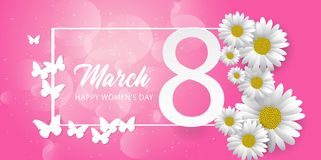 8 march international women`s day background with paper cut butterfly and flower royalty free illustration