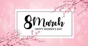 8 march international women`s day background with cherry blossoms vector illustration