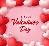 Happy Valentines Day background with heart shaped balloons stock illustration