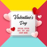Valentines Day sale background with paper hearts vector illustration