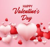 Happy Valentines Day background with with heart shaped balloons stock illustration