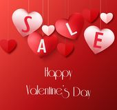 Valentines Day background with hanging heart sale balloons royalty free illustration