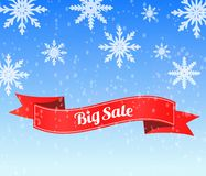 Big winter sale background with red ribbon banner stock illustration
