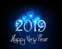 Happy New Year 2019 fireworks background royalty free illustration