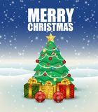 Christmas background with christmas tree and presents stock illustration