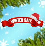 Winter sale background with red ribbon and santa hat banner stock illustration