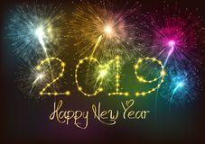 Happy New Year 2019 fireworks background stock illustration