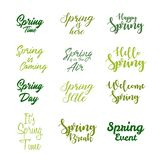 Spring inspirational quotes icon set vector illustration