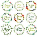 Spring quotes set with floral wreath vector illustration