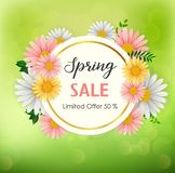 Spring sale background with beautiful flower and round frame royalty free illustration
