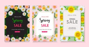 Set of Spring sale background banner with beautiful flower stock illustration