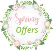 Spring offer background with flower wreath royalty free illustration