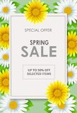 Spring Sale flyer background with beautiful flower stock illustration