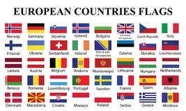 European Countries Flags with countries Names stock illustration