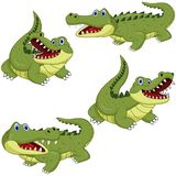 Cartoon green crocodile collection set. Illustrtion of Cartoon green crocodile collection set royalty free illustration