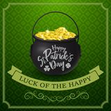 Happy St. Patrick`s day with golden coins royalty free illustration