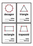 Count sides and vertices shapes worksheet for preschool kids vector royalty free illustration