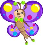 Adorable color kawaii drawing of a little butterfly, beautifully colored, for children`s book stock illustration