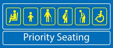 Set of priority seating sticker or label, for mass rapid transit or other public transportation. royalty free illustration