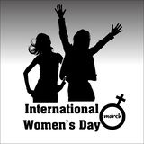 International women`s day with girl silhouettes vector illustration