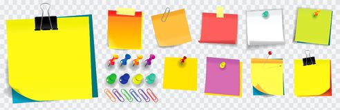 Colorful sticky note. using in school, work or office activity. Easy to modify design royalty free stock photo