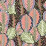 Abstract vintage composition colorful tropical leaves seamless floral pattern. Abstract vintage composition colorful tropical leaves seamless floral pattern stock illustration
