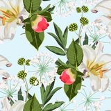 Flower seamless pattern with hand drawn wild flora peonies bud and white lilies. stock illustration
