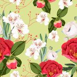 Flower seamless pattern with hand drawn wild flora red peonies bud and white lilies. vector illustration