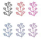 Colorfull leaves with branched stems. Vector stock illustration