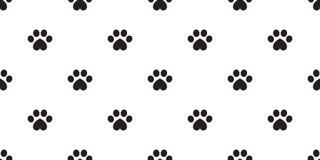 Dog Paw seamless vector footprint pattern heart valentine kitten puppy tile background repeat wallpaper isolated illustration vector illustration